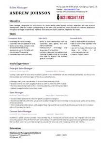 Sales Resumes Exles by Sales Manager Resume Template 2017