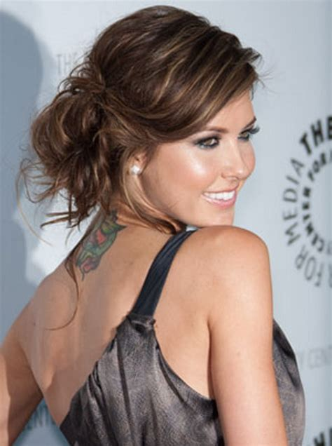 messy bun without shaved side showing top 10 best trendy hairstyles for women 2013