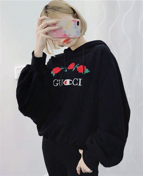 Denim Days Home Interior by Sweater Gucci Logo Black Hoodie Floral Roses Casual