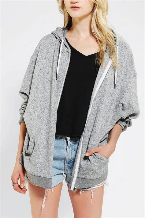 Sweater Fashion Hijacket Hoodie Zipper Wanita Black Grey Baru Swea lyst outfitters oversized zip up hoodie sweatshirt in gray