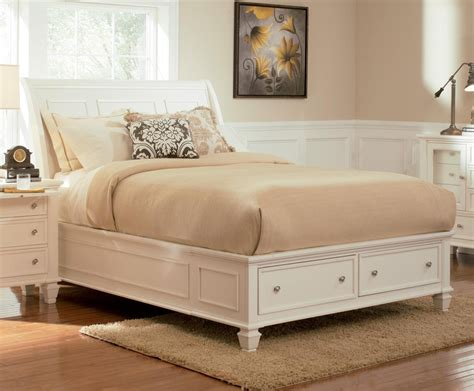 sandy beach bedroom set sandy beach white sleigh storage bedroom set 201309 from