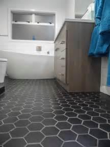 Black Bathroom Floor Tiles Black Hexagon Bathroom Floor Tile Design