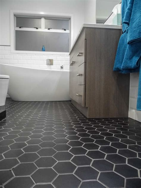 Hex Tiles For Bathroom Floors black hexagon bathroom floor tile design