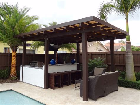 Pergola With Polycarbonate Roof And Built In Outdoor