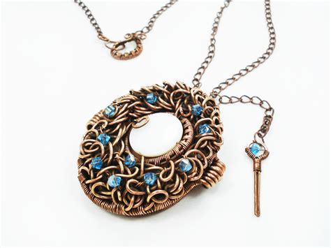 Handmade Wire Necklaces - handmade wire wrapped copper locket photo locket moodart