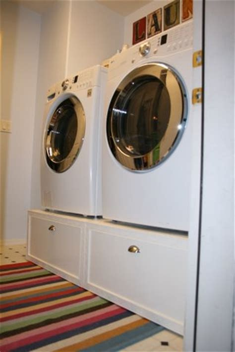 Build Washer Dryer Pedestal With Drawers white washer dryer pedestal platform with drawers diy projects