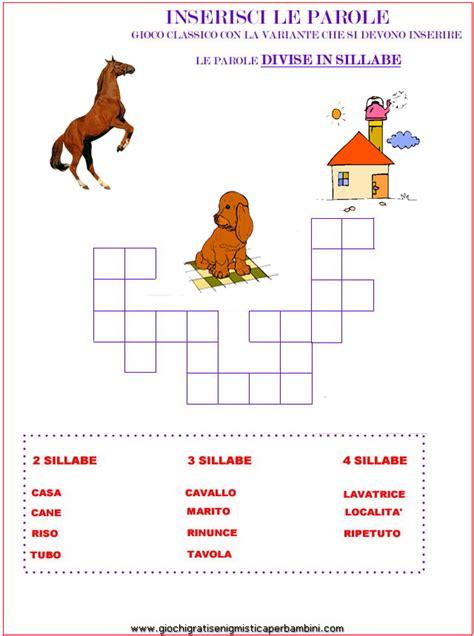 cerca parola da lettere divisione in sillabe enigmistica per bambini e ragazzi