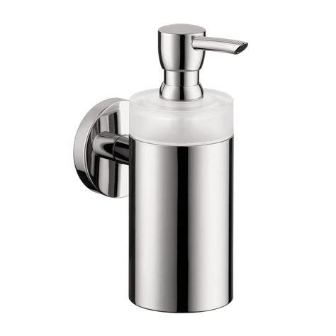 wall mount soap dispenser hansgrohe wall mount brass and plastic soap dispenser in chrome 40514000 the home depot