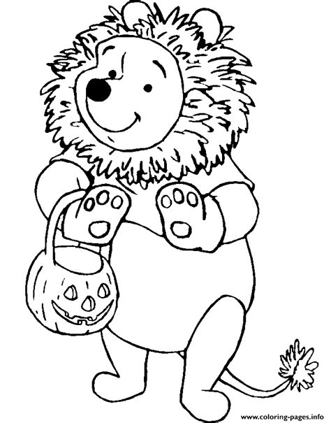 winnie the pooh halloween coloring pages printable winnie the pooh as a lion disney halloween coloring pages