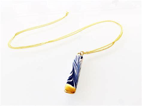 Ck 031 Gold melanie sherman jewelry marbled porcelain blue white