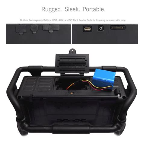 rugged boombox pyle pjsr350yl industrial boombox rugged bluetooth speaker heavy duty splash proof stereo