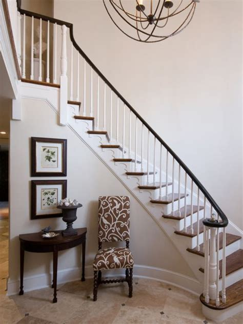 Staircase Ideas Near Entrance Foyer With Curved Staircase Houzz