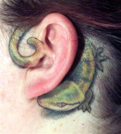 cute lizard behind ear tattoos insigniatattoo com