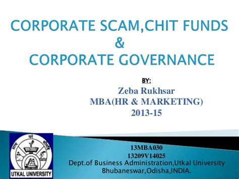 Mba Corporate Governance Notes by Corporate Scam Chit Fund Saradha Scam Corporate Governance