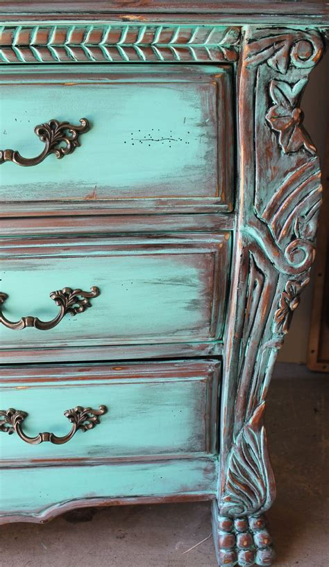 aqua turquoise distressed armoire dresser with aged copper patina furniture