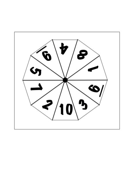 printable spinner with numbers 1 10 template for numbers 1 10 images