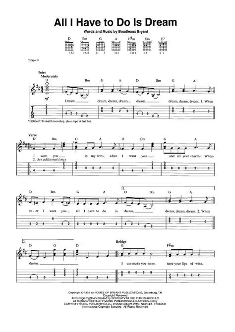 i have a dream house music all i have to do is dream sheet music for piano and more onlinesheetmusic com