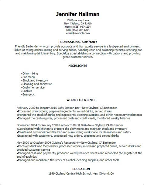 Exle Of Bartender Resume by Professional Bartender Resume Templates To Showcase Your Talent Myperfectresume