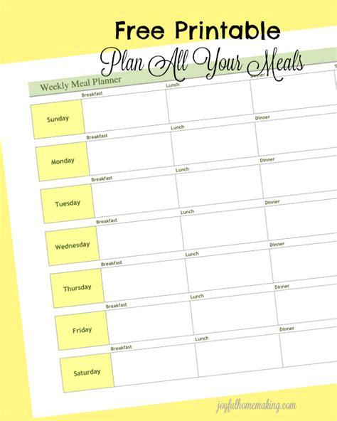 printable meal planner pdf weekly meal planner printable joyful homemaking
