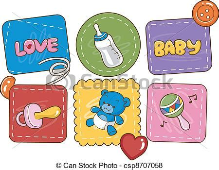 Vector of Baby Patches - Illustration Featuring Baby ... Free Baby Related Clipart