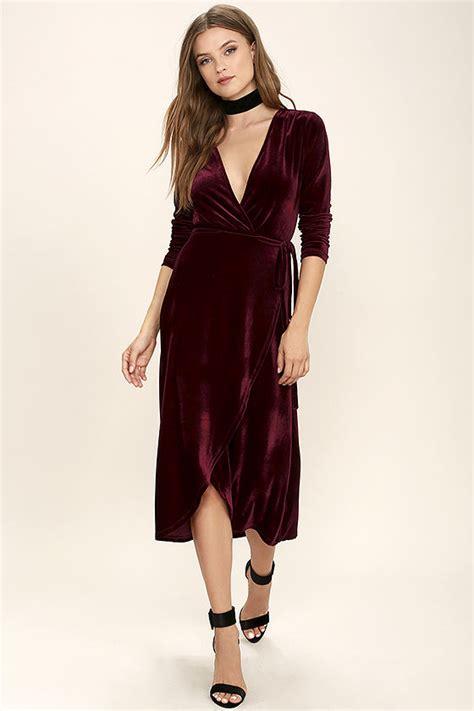 Dress Me Up In Velvet by Stunning Burgundy Dress Velvet Dress Wrap Dress Midi