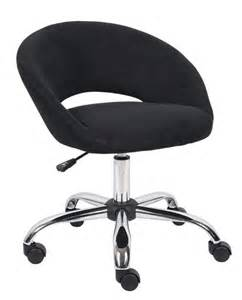 Vanity Chair On Wheels New Black Microfiber Fabric Barrel Swivel Home Office