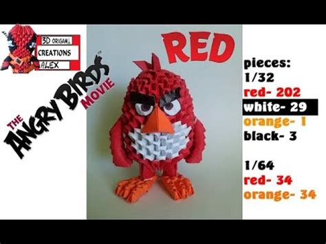 origami 3d angry bird tutorial how to make 3d origami red angry birds movie tutorial
