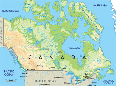 map of canada physical map of canada
