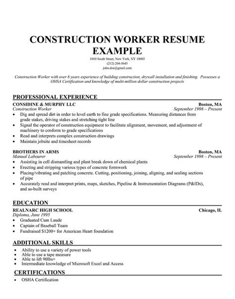 construction labor resume sle resume companion