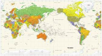 World Map Pacific by Political World Wall Map Pacific Rim View