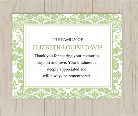 thank you letter after the burial items similar to damask funeral thank you card printable