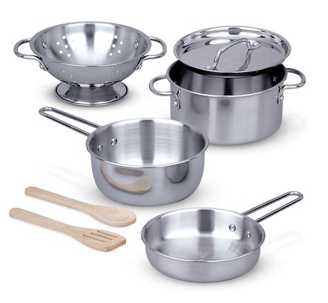 pots and pans amazon com melissa doug stainless steel pots and pans