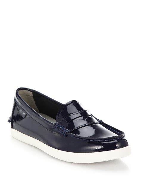 cole haan patent leather loafers cole haan pinch weekend patent leather loafers in blue lyst
