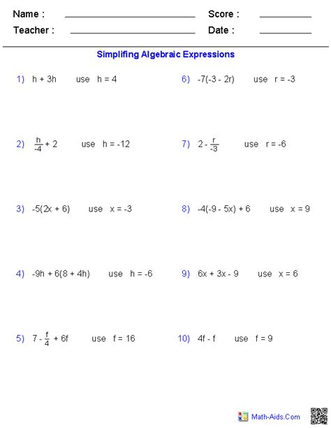 Prealgebra Worksheets by Pre Algebra Worksheets Algebraic Expressions Worksheets