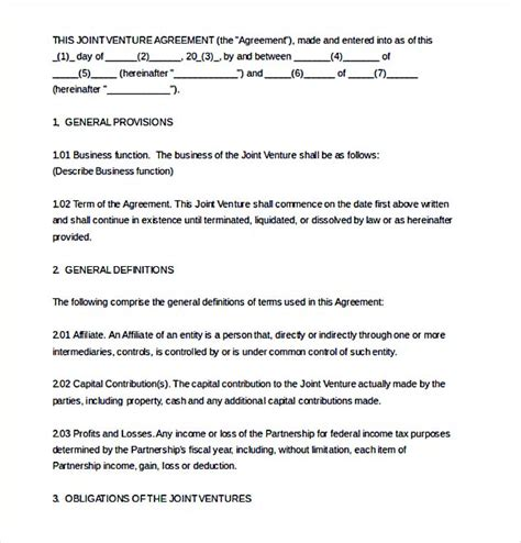 real estate joint venture agreement template joint venture agreement template