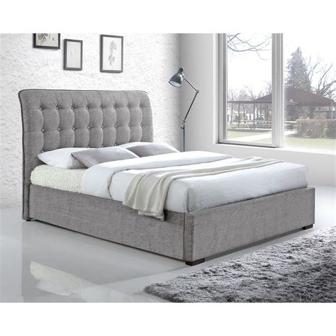 back of bed light grey button back upholstered super king bed modern