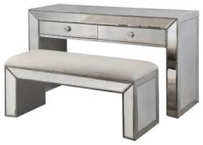 Contemporary Vanity Table Vanity Console Table With Bench Set Silver And Mirrored Inlays Contemporary Dressing Tables
