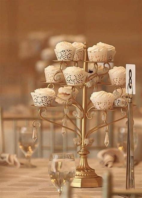 Crystal Flower Chandelier Gold Cupcake Candelabra Centerpiece Stand Crystal Gold