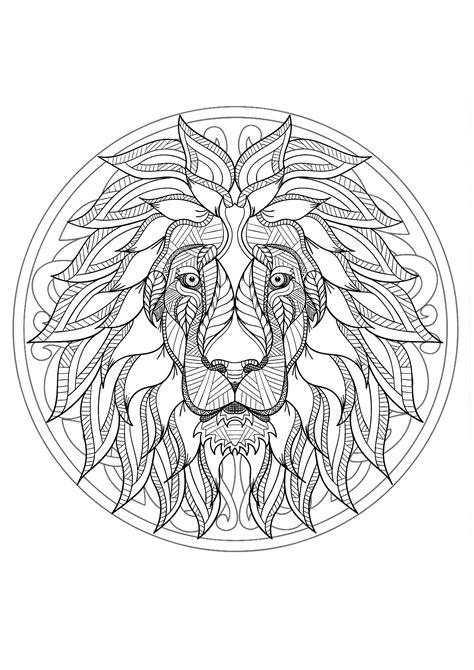 Harmonious Lion head Mandala - Mandalas with animals - 100