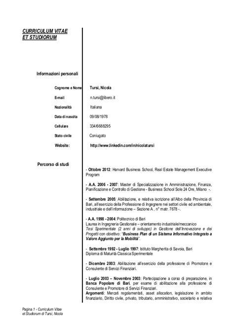 Formato Europeo Curriculum Vitae Et Studiorum curriculum vitae et studiorum nicola tursi