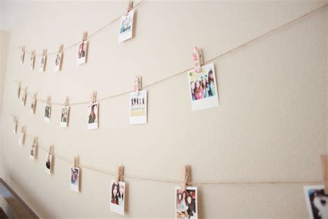 String Wall - diy polaroid wall with string lights simple stylings