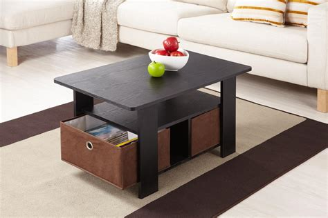 table with storage bins furniture of america axa collection black low profile