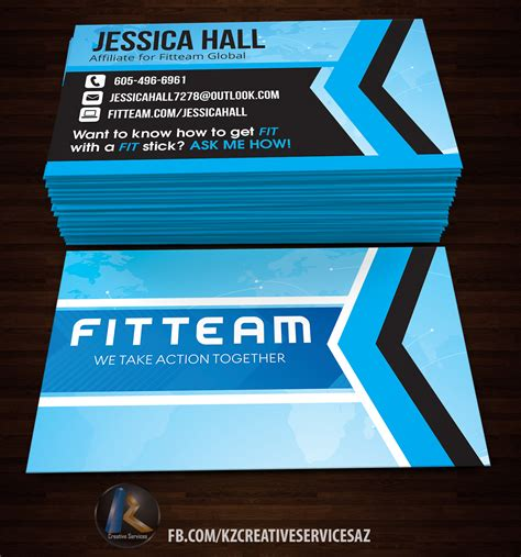 %name younique business cards   FITTEAM Business Cards style 2 · KZ Creative Services · Online Store Powered by Storenvy
