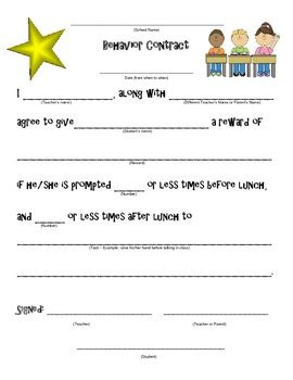 Behavior Contract Classroom Management By Leah Stas Tpt Behavior Contract Template Elementary