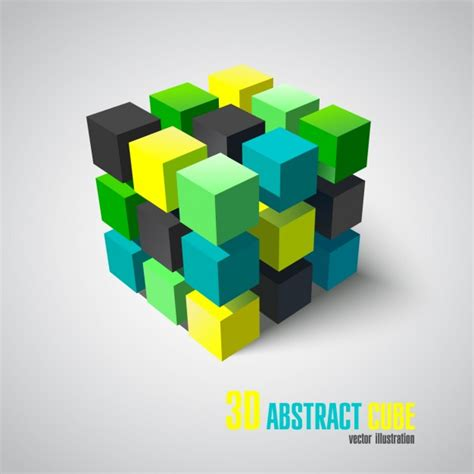 3d abstract cube vector free