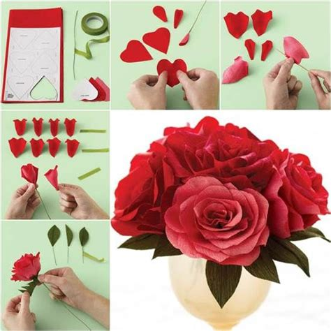 Paper Craft Roses - how to diy easy crepe paper crepe paper roses