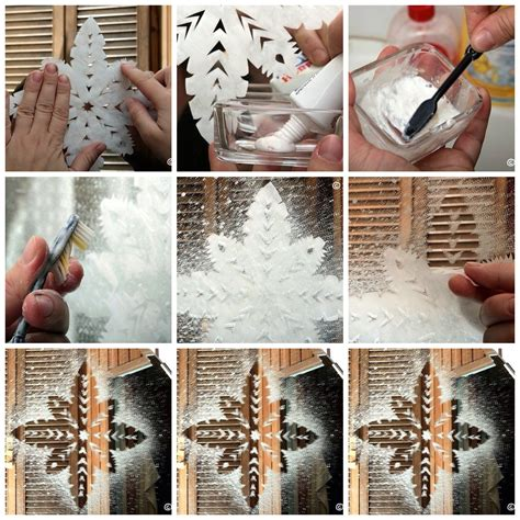 place cut out snowflake on a window mix toothpaste and