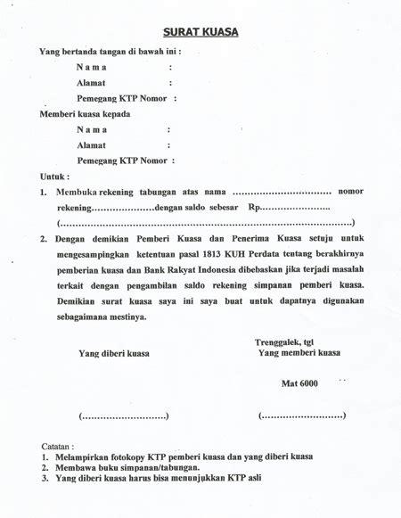 contoh surat kuasa pengambilan uang di bank bca bni