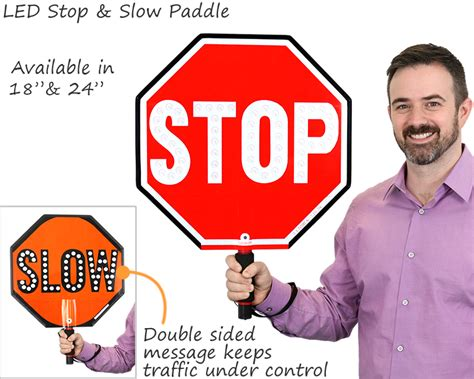 lighted stop paddles stop signs held held stop sign paddles