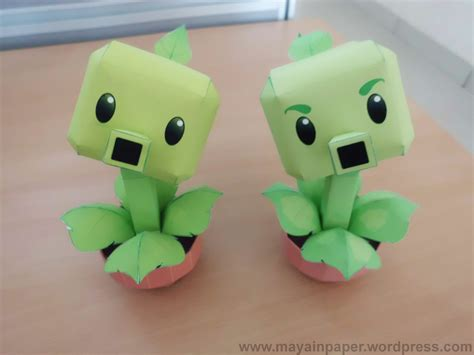 Plants Vs Zombies Paper Crafts - peashooter repeater papertoy plants vs zombies